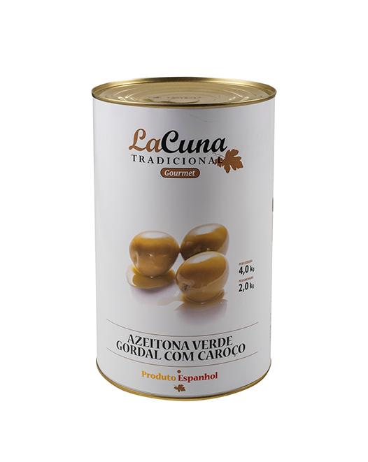 ACEITUNA VERDE GORDAL CON HUESO LATA 4,2 KG.